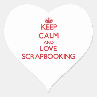 Guarde la calma y ame Scrapbooking Calcomanía Corazón Personalizadas