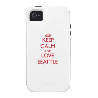 Guarde la calma y ame Seattle iPhone 4 Carcasa