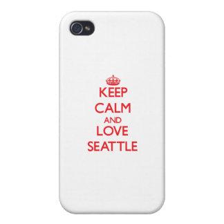 Guarde la calma y ame Seattle iPhone 4/4S Carcasa