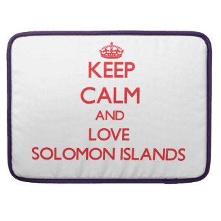 Guarde la calma y ame Solomon Island Funda Para Macbook Pro