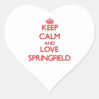 Guarde la calma y ame Springfield Pegatina En Forma De Corazón