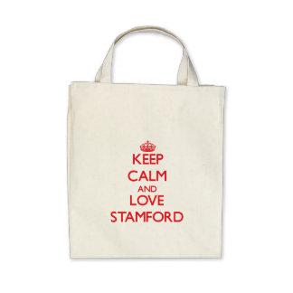 Guarde la calma y ame Stamford Bolsas Lienzo