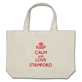 Guarde la calma y ame Stamford Bolsa Lienzo