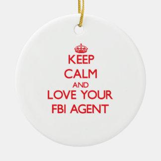 Guarde la calma y ame su agente del FBI Adorno Redondo De Cerámica