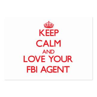 Guarde la calma y ame su agente del FBI Tarjetas De Visita Grandes