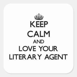Guarde la calma y ame su agente literario calcomania cuadradas personalizadas