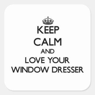 Guarde la calma y ame su aparador de ventana pegatina cuadrada