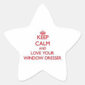 Guarde la calma y ame su aparador de ventana pegatina en forma de estrella
