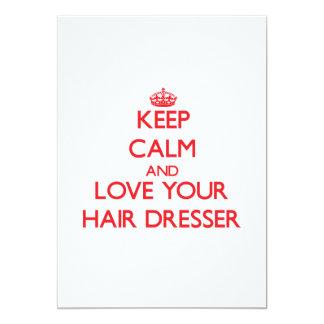 Guarde la calma y ame su aparador del pelo invitación 12,7 x 17,8 cm