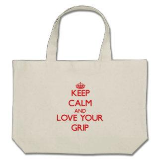 Guarde la calma y ame su apretón bolsa lienzo