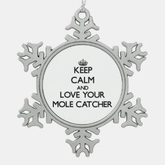 Guarde la calma y ame su colector del topo adorno de peltre en forma de copo de nieve