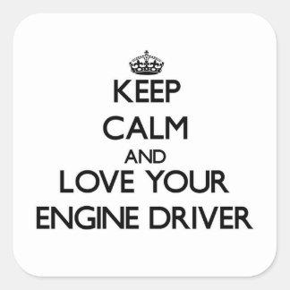 Guarde la calma y ame su conductor de motor calcomania cuadradas personalizadas
