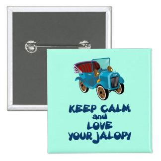 Guarde la calma y ame su diseño chistoso del Jalop Pin