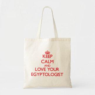 Guarde la calma y ame su Egyptologist Bolsa Tela Barata