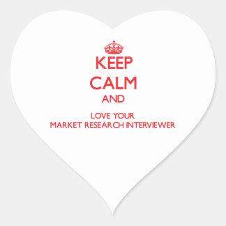 Guarde la calma y ame su estudio de mercados pegatina en forma de corazón