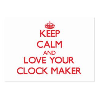 Guarde la calma y ame su fabricante del reloj plantilla de tarjeta de negocio