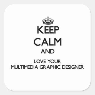 Guarde la calma y ame su gráfico Designe de las Pegatina Cuadrada