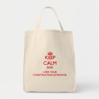 Guarde la calma y ame su perito de la construcción bolsas