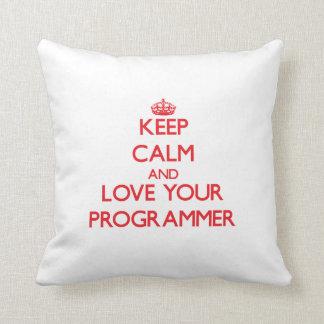 Guarde la calma y ame su programador almohadas