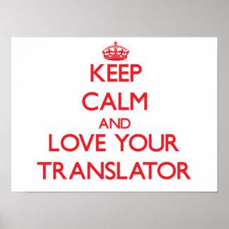 Guarde la calma y ame su traductor posters
