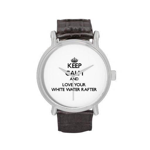 Guarde la calma y ame su viga del agua blanca relojes