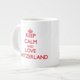 Guarde la calma y ame Suiza Tazas Jumbo