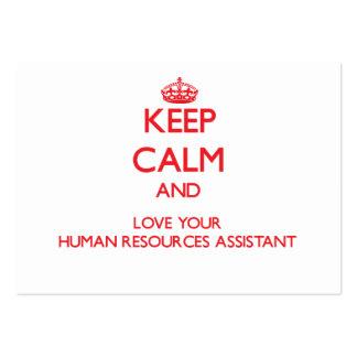 Guarde la calma y ame sus recursos humanos auxilia plantillas de tarjeta de negocio