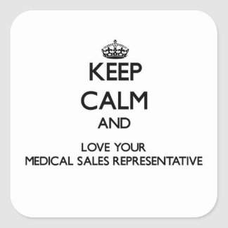 Guarde la calma y ame sus ventas médicas calcomania cuadradas personalizadas