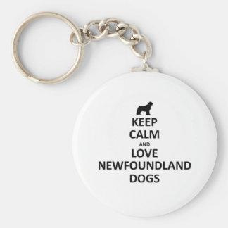 Guarde la calma y ame Terranova dogs.jpg Llavero Redondo Tipo Pin