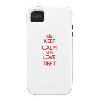 Guarde la calma y ame Tíbet Vibe iPhone 4 Funda
