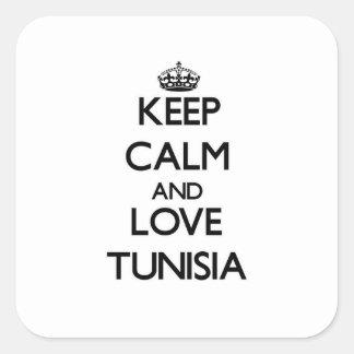 Guarde la calma y ame Túnez Colcomanias Cuadradases