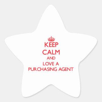 Guarde la calma y ame un agente de compra calcomanias forma de estrella