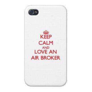 Guarde la calma y ame un agente del aire iPhone 4/4S carcasas