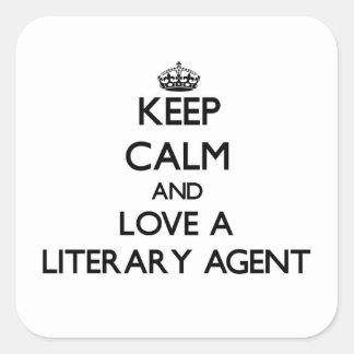 Guarde la calma y ame un agente literario pegatina cuadradas personalizadas