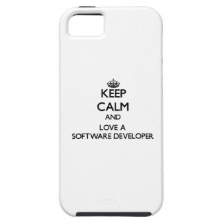 Guarde la calma y ame un analista de programas iPhone 5 cárcasas