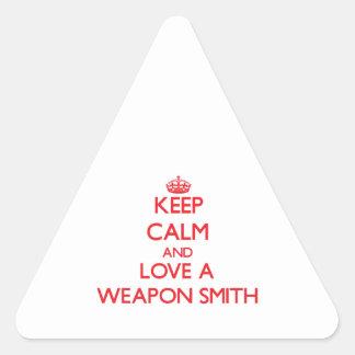 Guarde la calma y ame un arma Smith Calcomanías De Triangulos Personalizadas