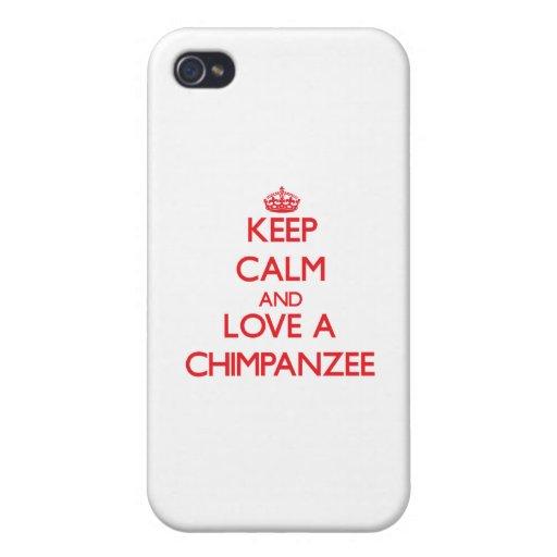 Guarde la calma y ame un chimpancé iPhone 4/4S carcasa
