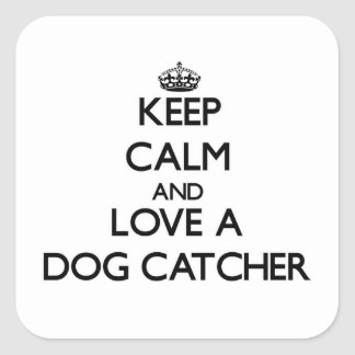 Guarde la calma y ame un colector de perro calcomania cuadradas