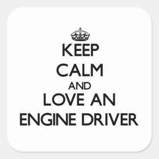 Guarde la calma y ame un conductor de motor pegatina cuadradas personalizada