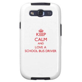 Guarde la calma y ame un conductor del autobús esc samsung galaxy s3 funda