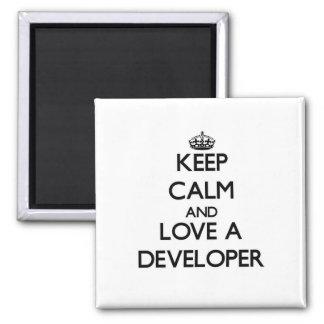 Guarde la calma y ame un desarrollador iman para frigorífico