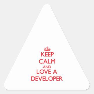 Guarde la calma y ame un desarrollador pegatina triangulo personalizadas