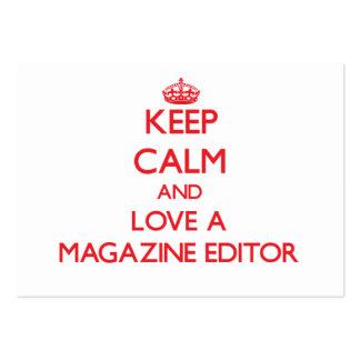 Guarde la calma y ame un editor de revista plantilla de tarjeta de visita