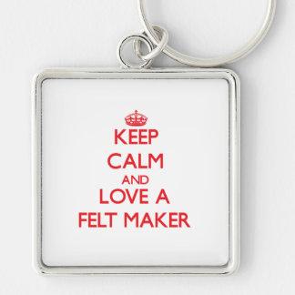Guarde la calma y ame un fabricante del fieltro llavero personalizado