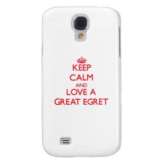 Guarde la calma y ame un gran Egret Funda Para Galaxy S4
