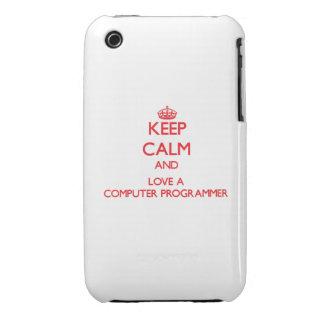 Guarde la calma y ame un informático Case-Mate iPhone 3 cobertura