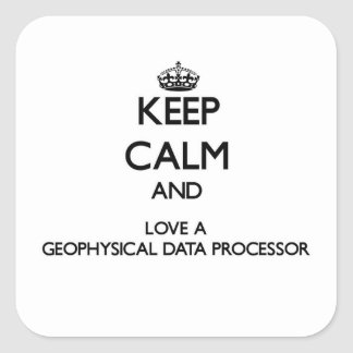 Guarde la calma y ame un informático geofísico calcomania cuadradas
