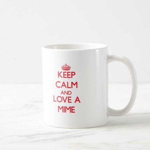 Guarde la calma y ame un Mime Tazas De Café