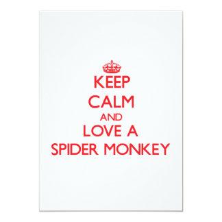 """Guarde la calma y ame un mono de araña invitación 5"""" x 7"""""""