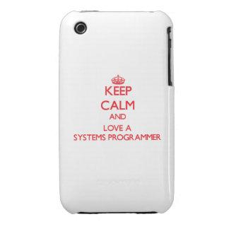 Guarde la calma y ame un programador Case-Mate iPhone 3 cárcasas